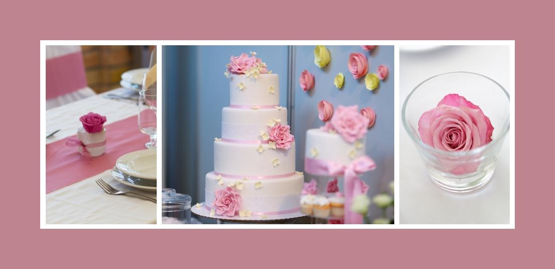 Rosa Torte und Blumenschmuck