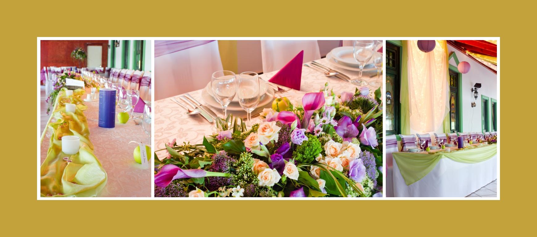 Blumengesteck Hochzeit zentraler Tisch