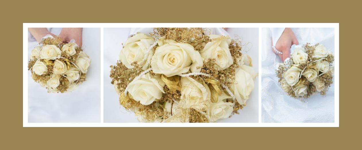 Blumenstrauß mit Golddeko und Perlen