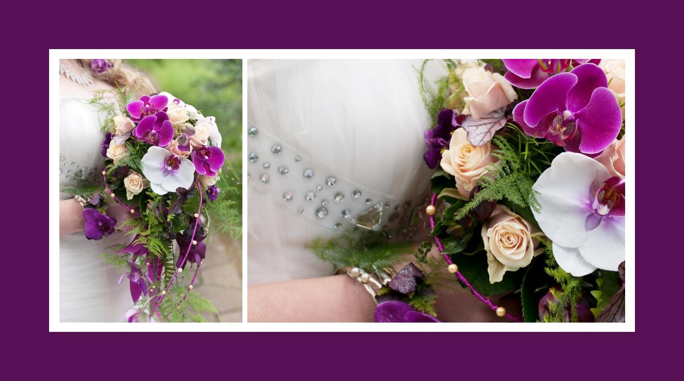 Brautstrauß aus Rosen, Orchideen und Farnkraut in Lila und Weiß