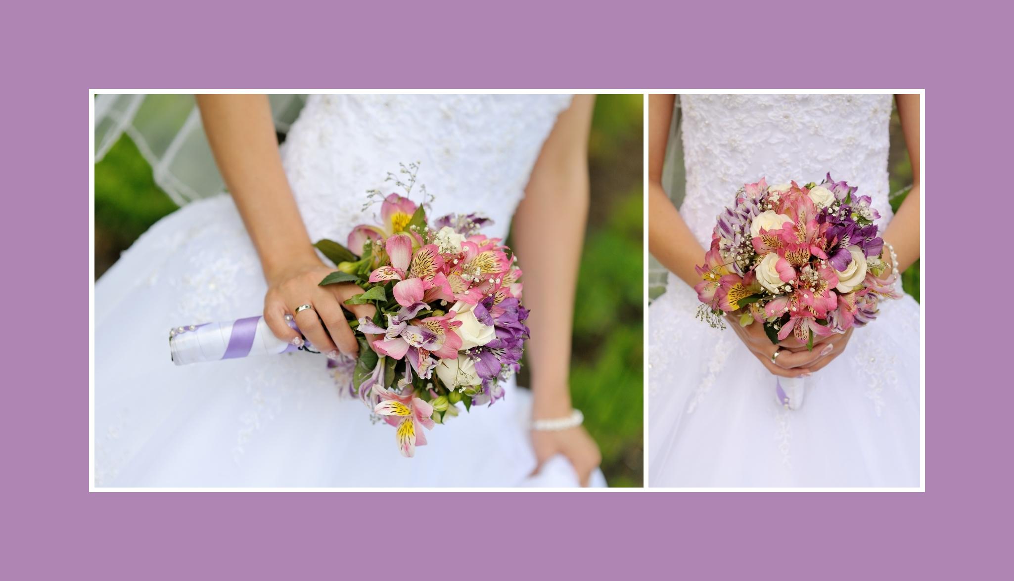 Brautstrauß mit rosa und lila Inkalilien, weißen Rosen
