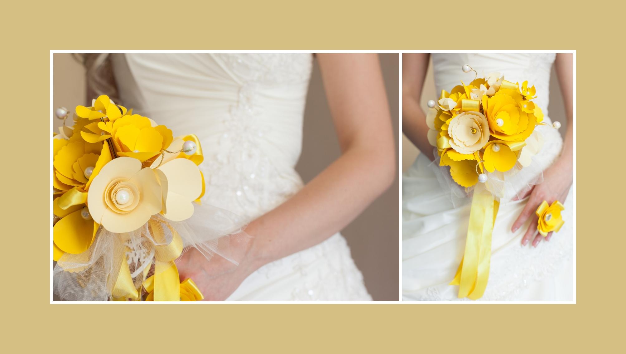 Brautstrauß Kunstblumen Gelb