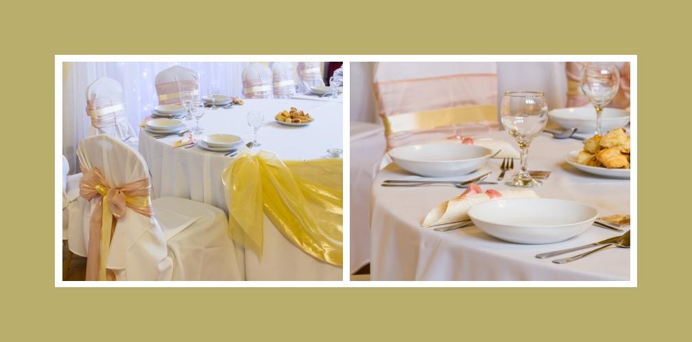 Dekoration von Stühlen - dezente Stuhlhussen mit wunderschönen gold- und pfirsichfarbenen Schleifen