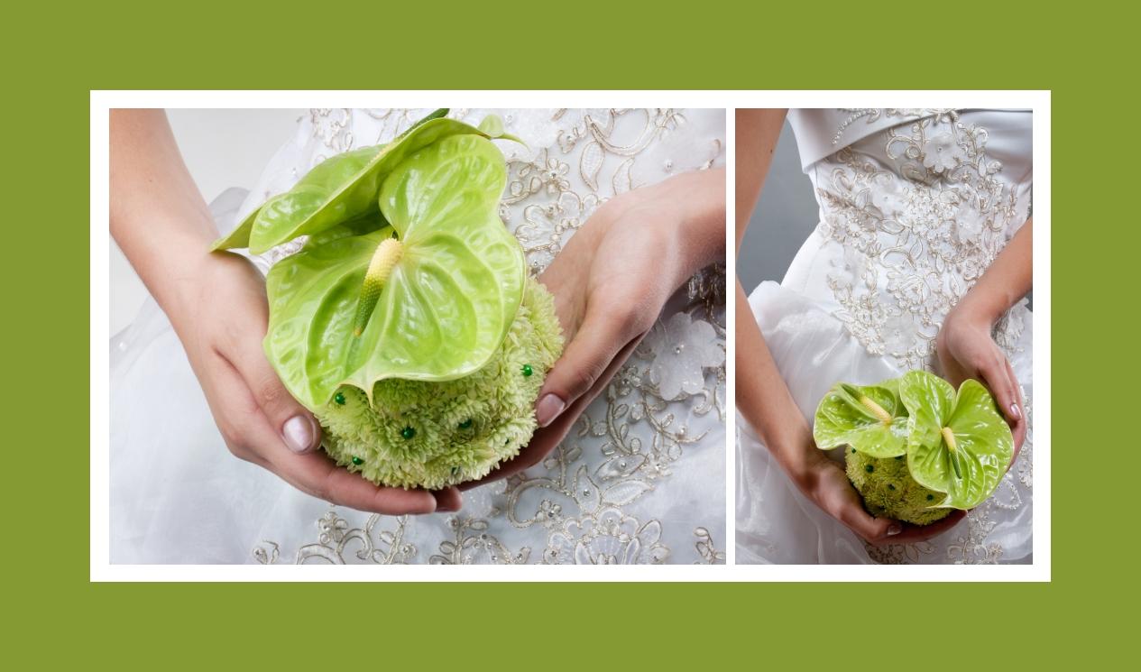 Der extravagante Brautstrauß aus Callas und Chrysanthemen in Grün