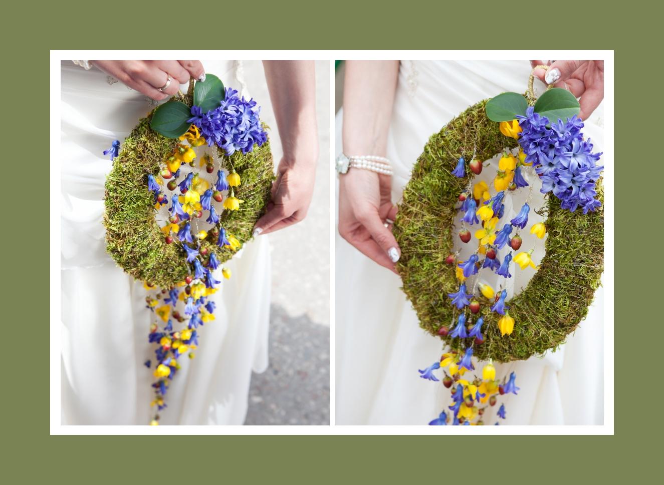 Der rustikale Brautstrauß aus Efeu, Veilchen und Erdbeeren in Grün, Lila, Gelb
