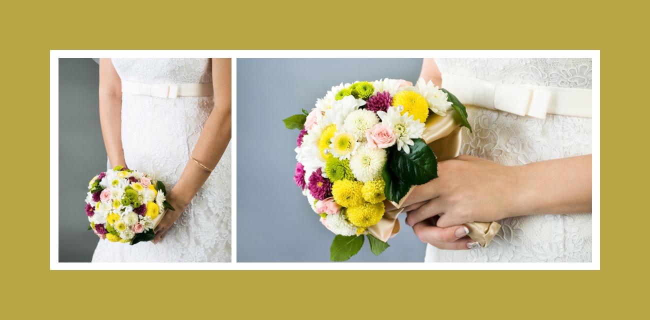 Entzückender Brautstrauß mit grünen, gelben, violetten, rosa und weißen Blumen