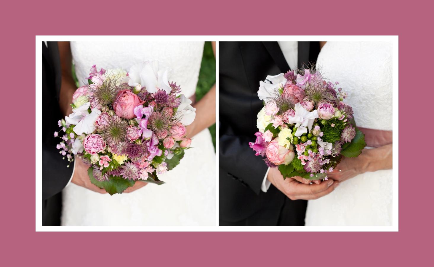 Gemischter Brautstrauß in Weiß und Rosa