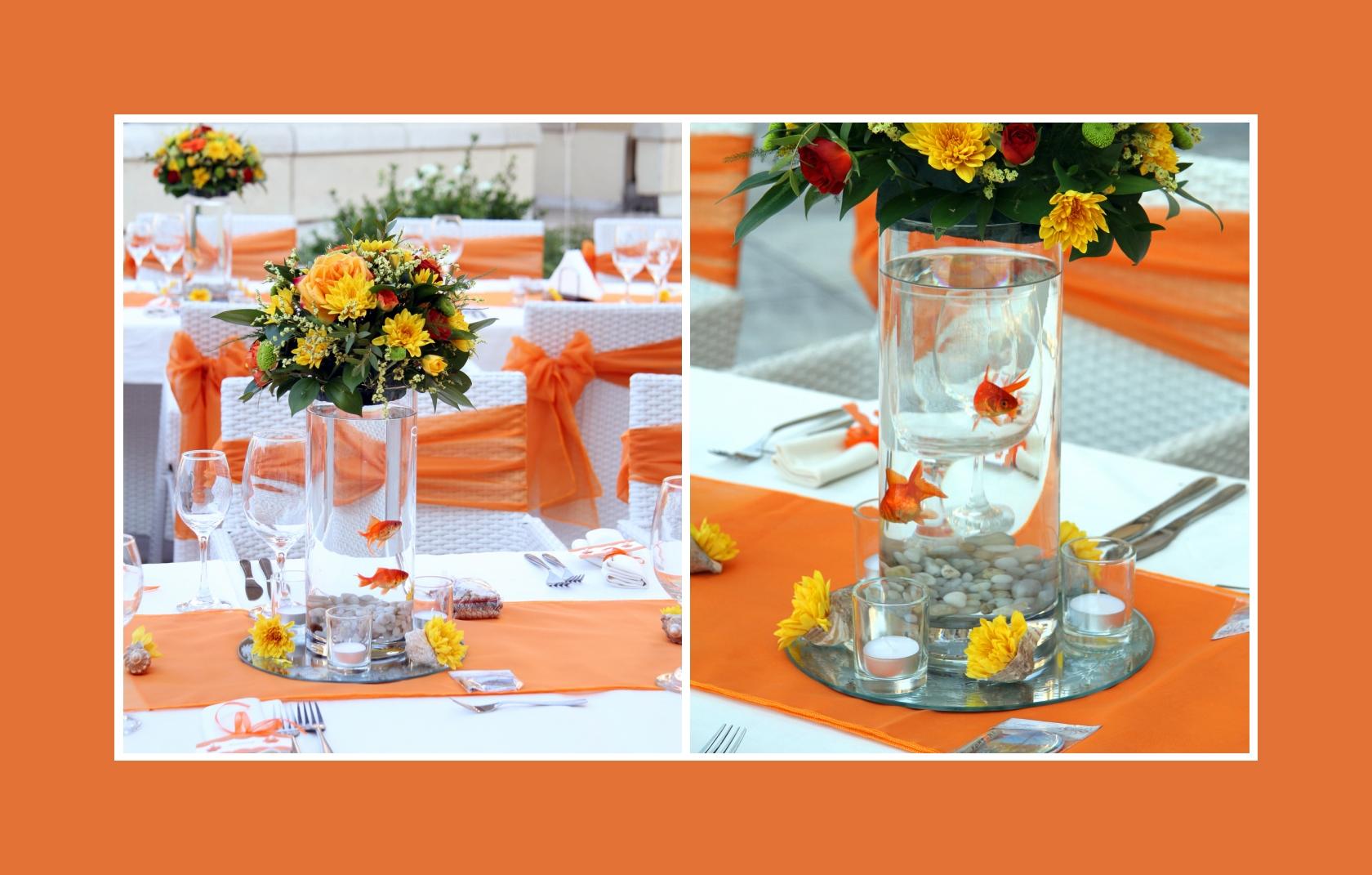 Goldfische als Deko auf einer Hochzeit