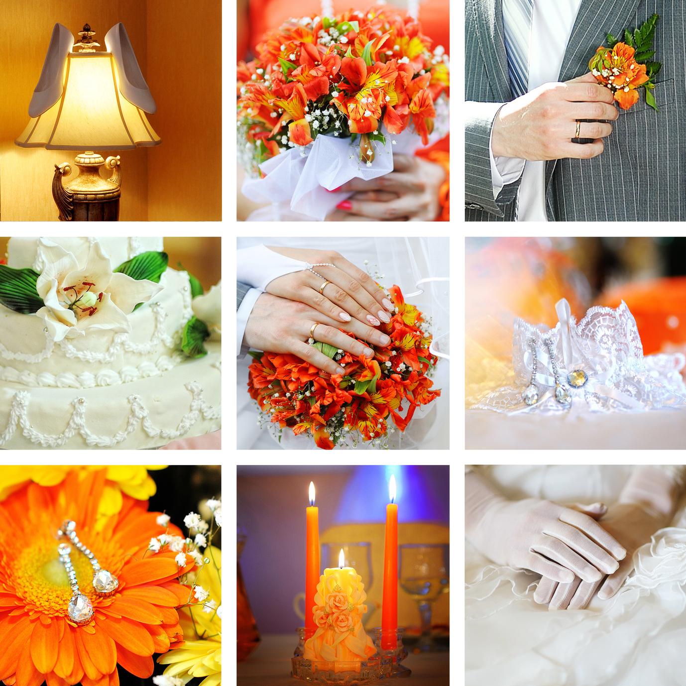 Hochzeit Orange-Dunkelgrasgruen-Weiss