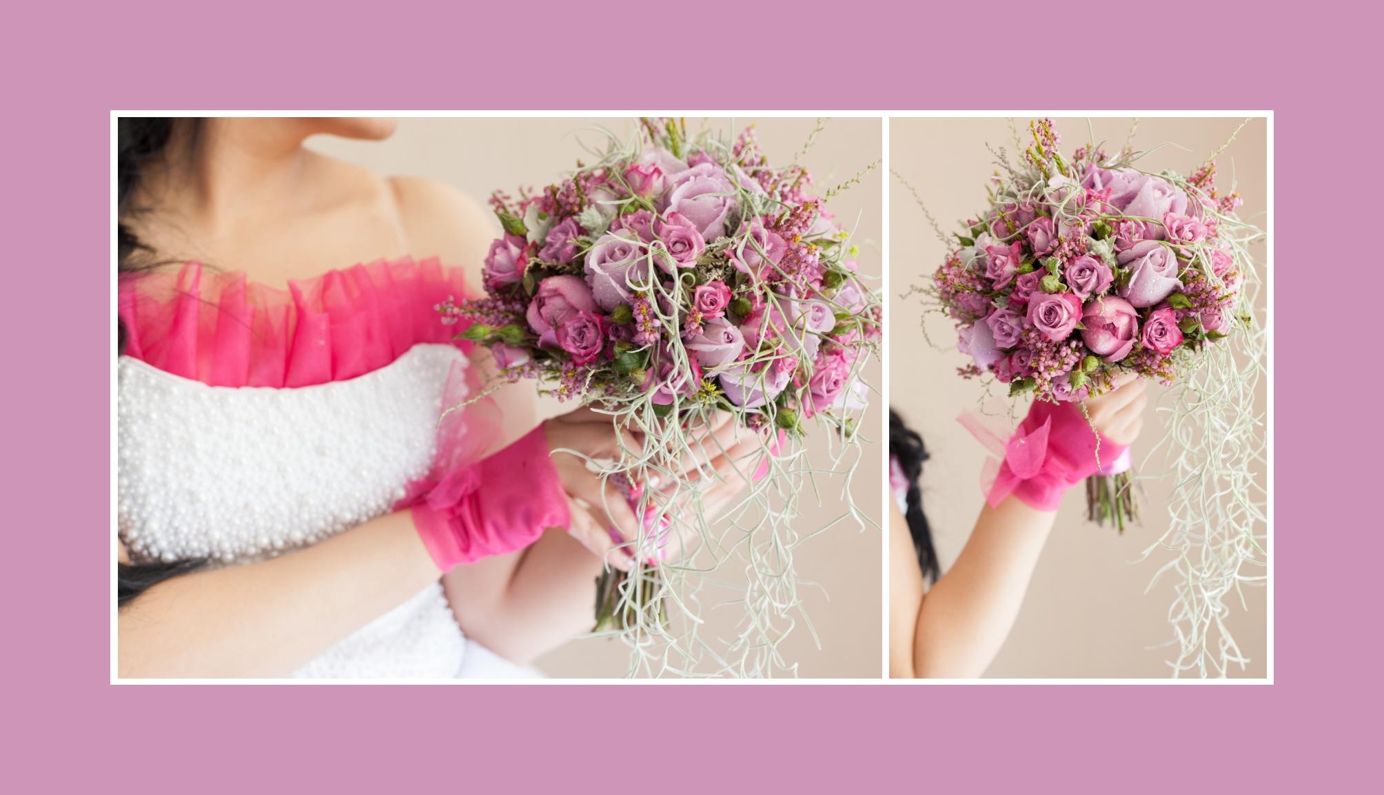 Brautstrauss Aus Rosa Und Lila Rosen Russische Hochzeit In Deutschland