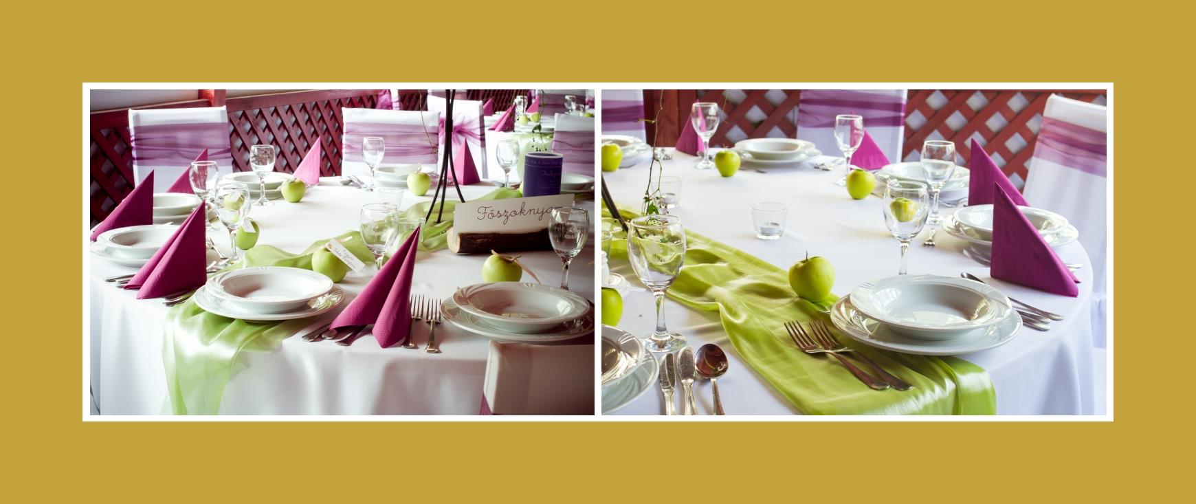 Servietten Tischläufer grüne Äpfel Tisch