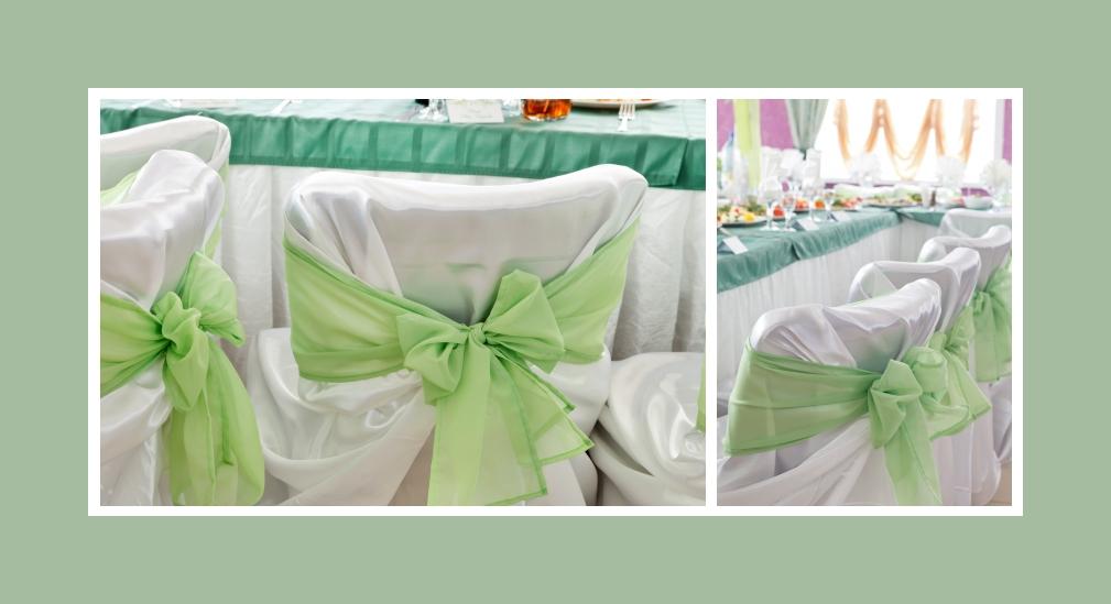 Stuhldeko mit Stuhlhussen grüne Schleifen Hochzeit