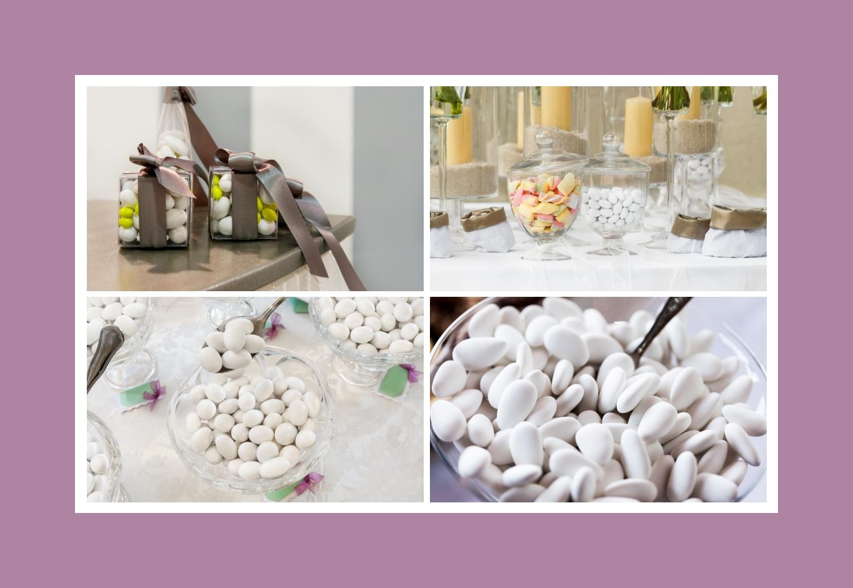Süßigkeiten und Hochzeitsmandeln als Gastgeschenke