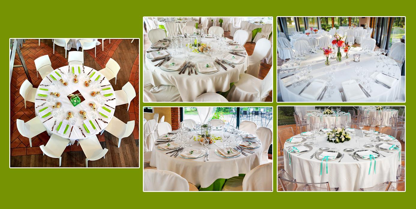 Zarte farbliche Akzente auf weiß gedeckten runden Tischen