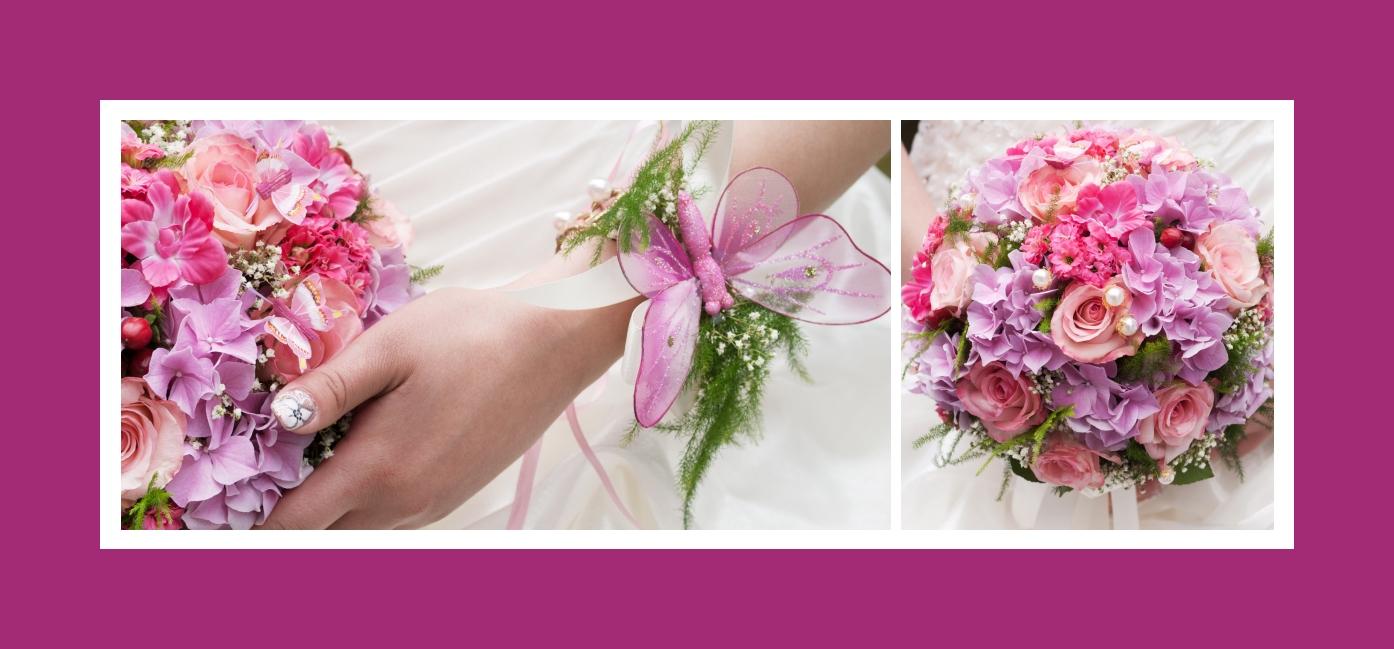 Brautstrauß aus Rosen, Hortensien und Nelken in Weiß-Lila