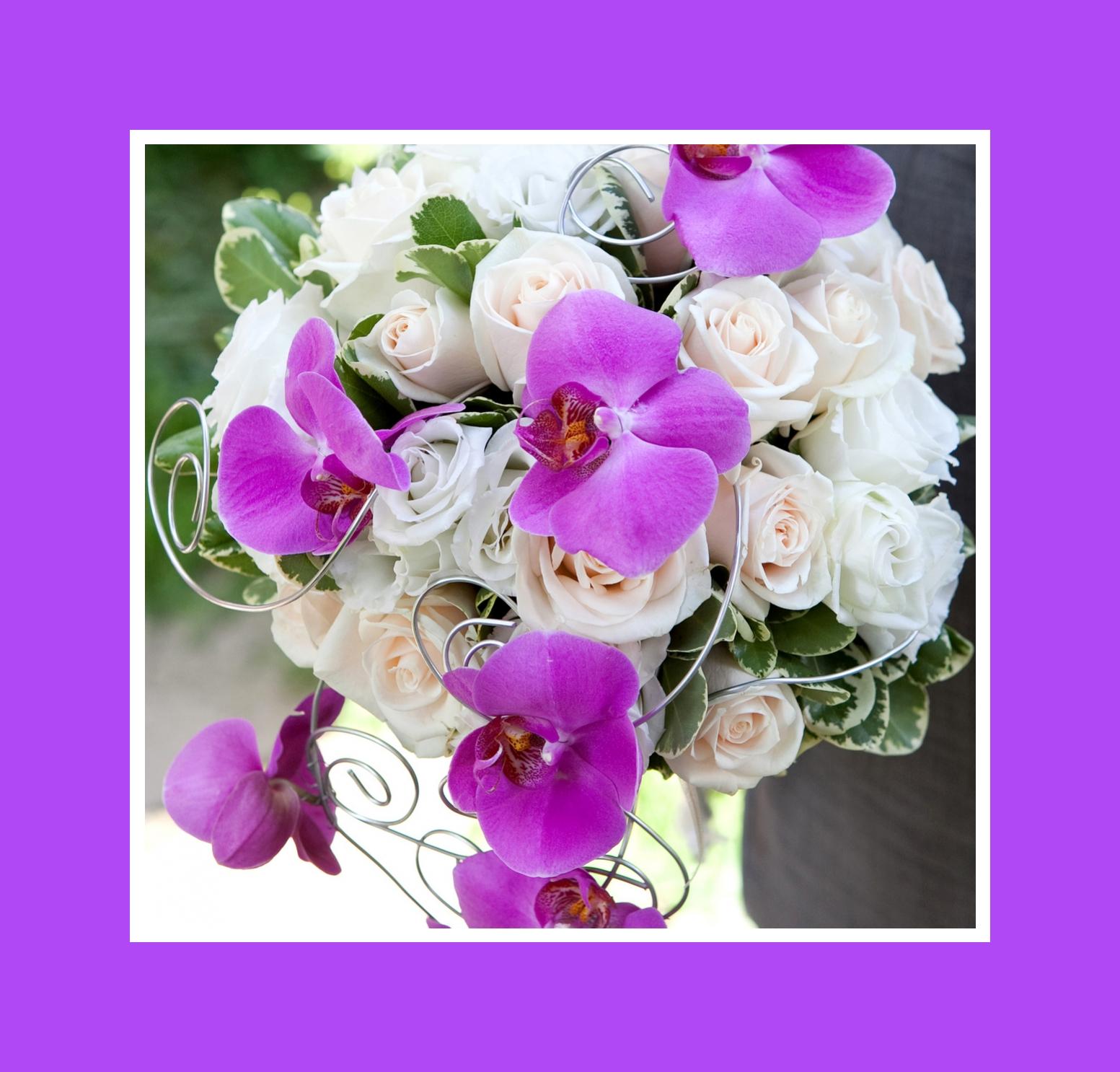 Brautstrauß aus Rosen und Orchideen