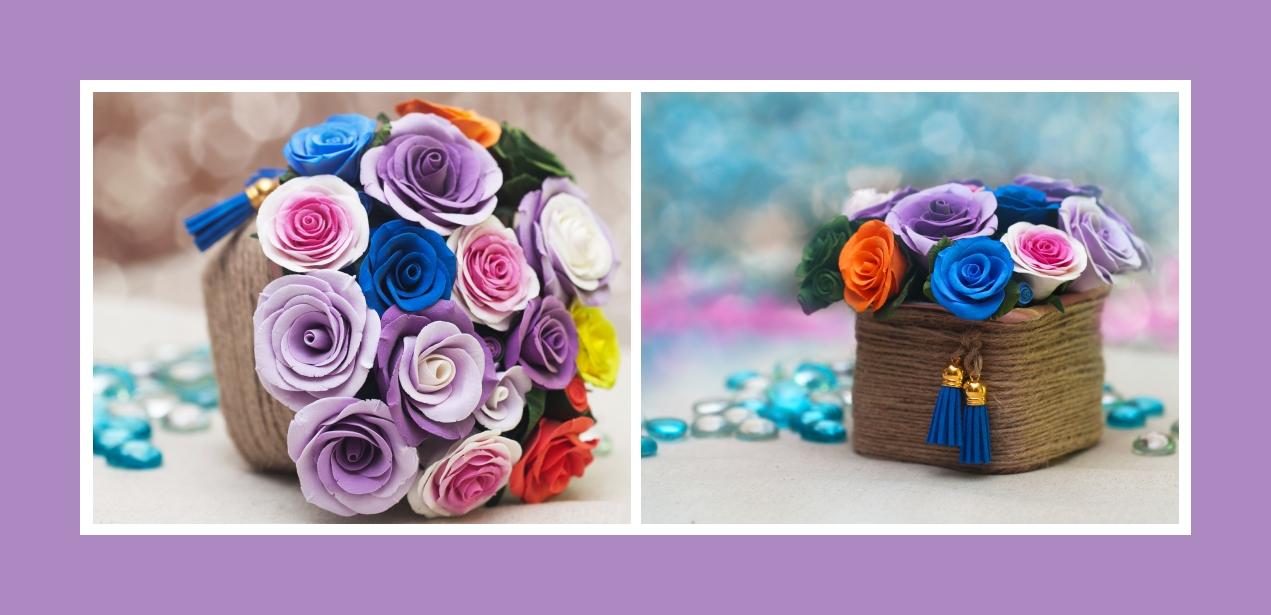 Künstlicher Brautstrauß aus Rosen in gedecktem Pink, Marineblau & Lila