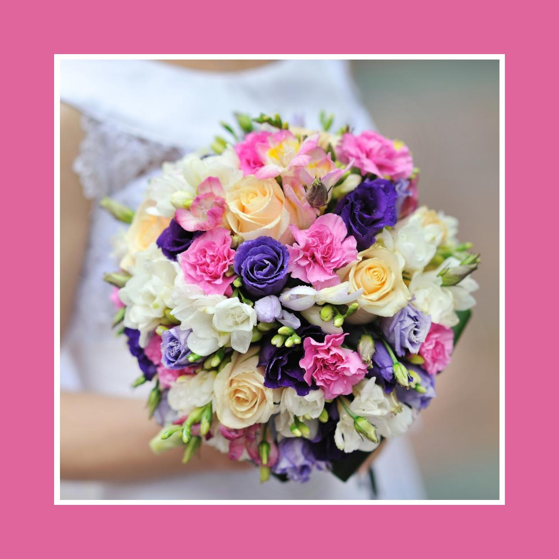 Brautstrauß aus Rosen, Freesien, Nelken und Ranunkeln