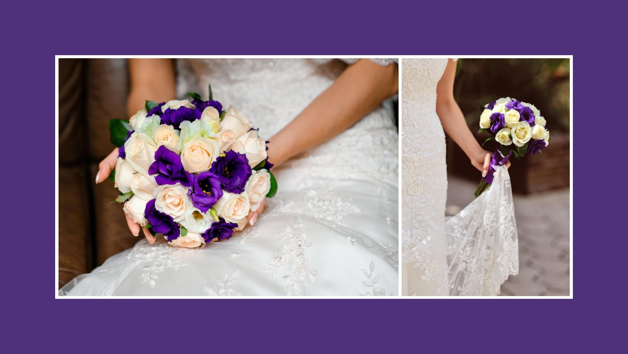 Brautstrauß in Bidermeierform mit Rosen in Creme & Violett