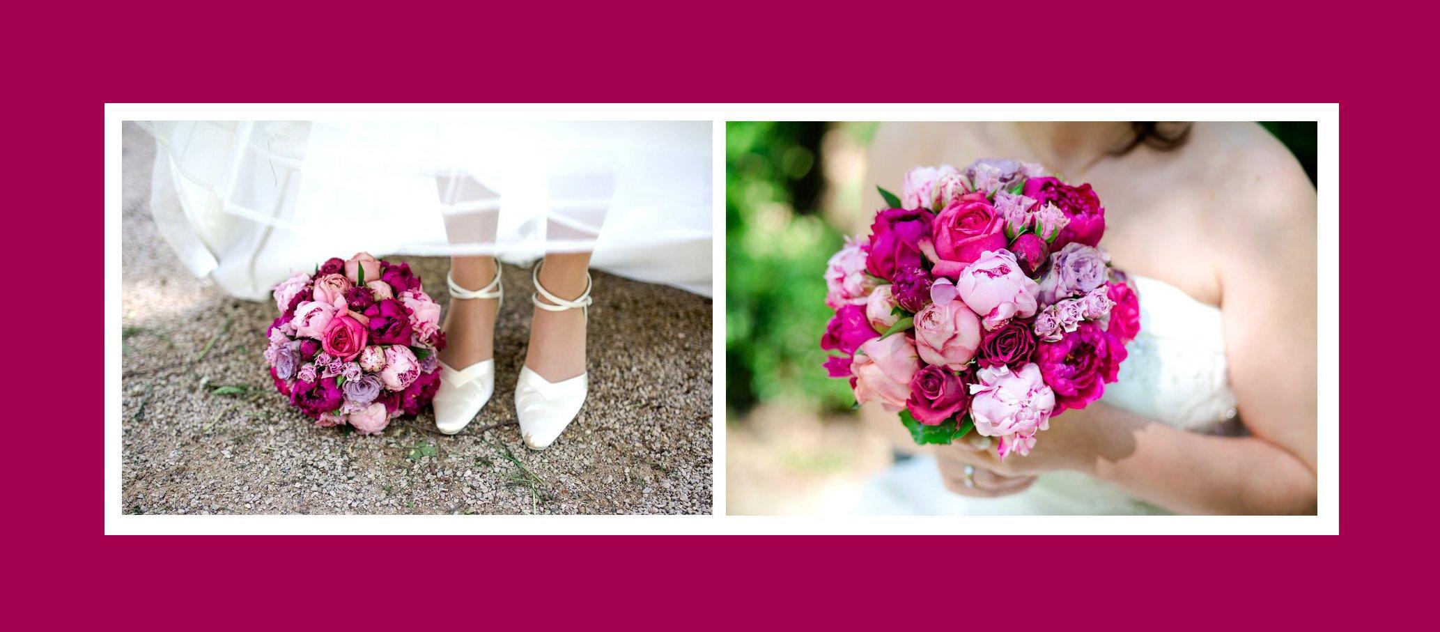 Eleganter Brautstrauß aus Pink Rosen & Pfingstrosen