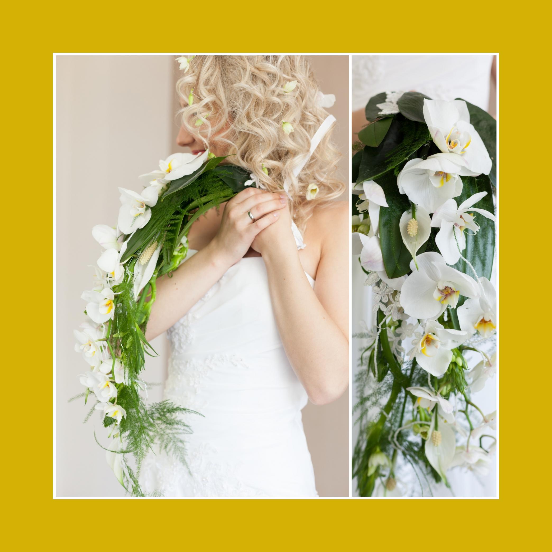 Brautstrauß Wasserfall – Weiße Orchideen