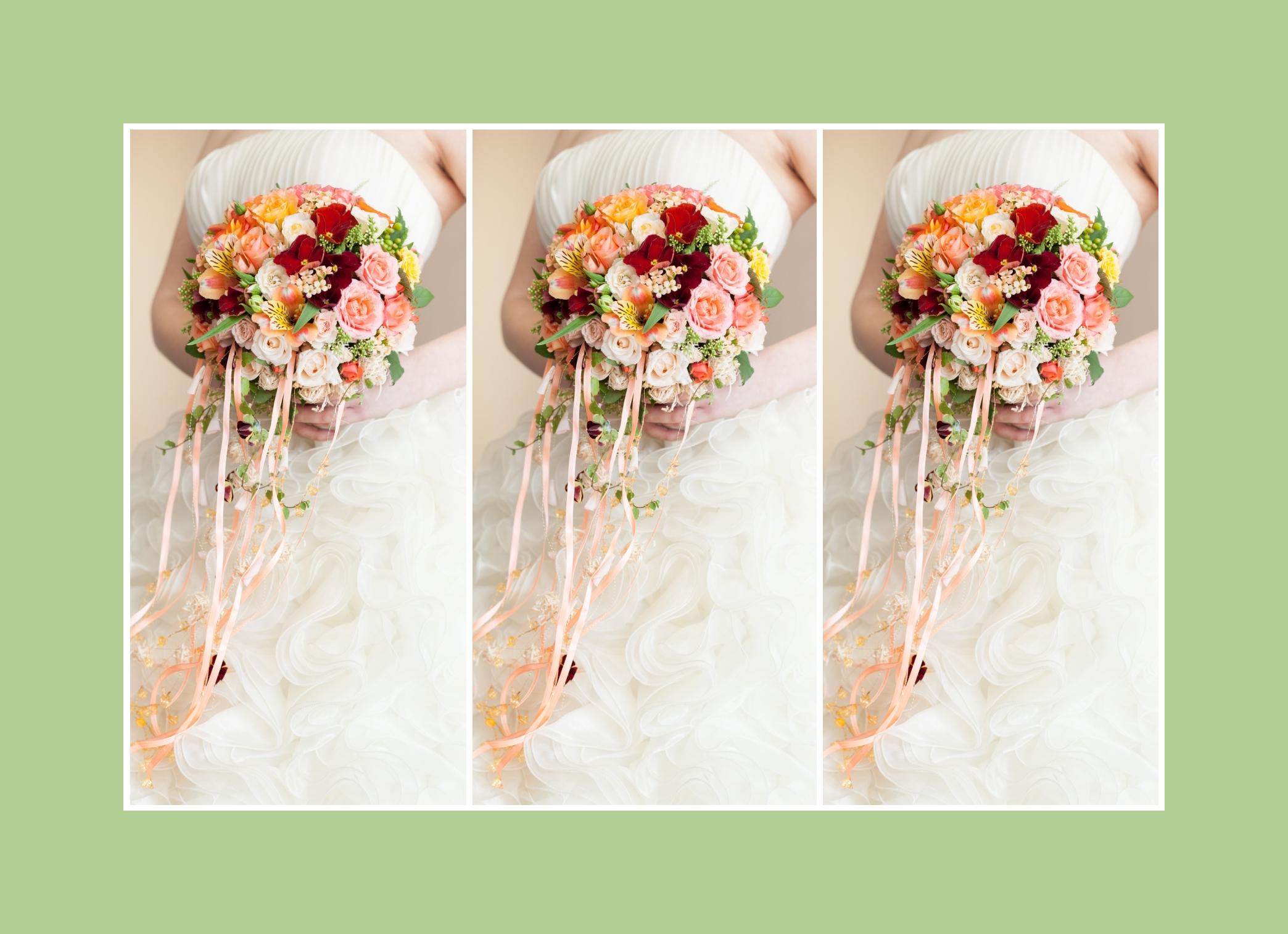 Brautstrauß mit unterschiedlicher Blumenzusammensetzung