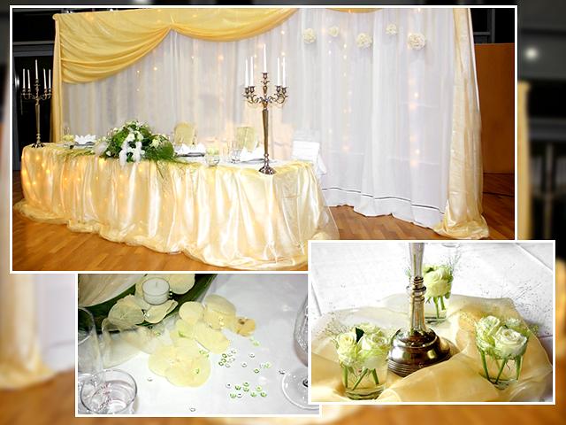Die Blumen – und Tischdeko in Grün und Gelb: Der Brautpaartisch