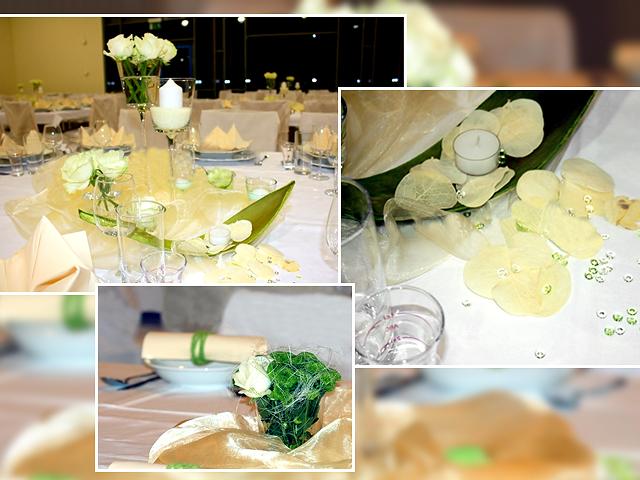 Die Hochzeitstischdeko in Grün und Gelb: Der Tisch für die Gäste