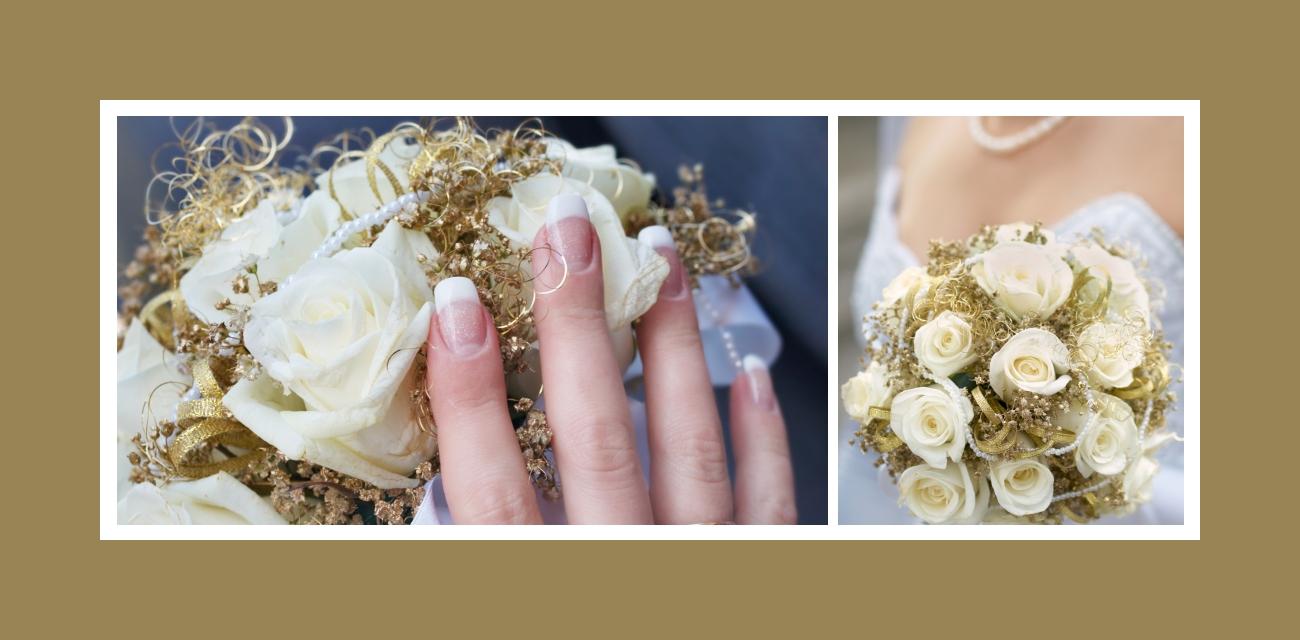 Brautstrauß in Elfenbeinweiß und Gold