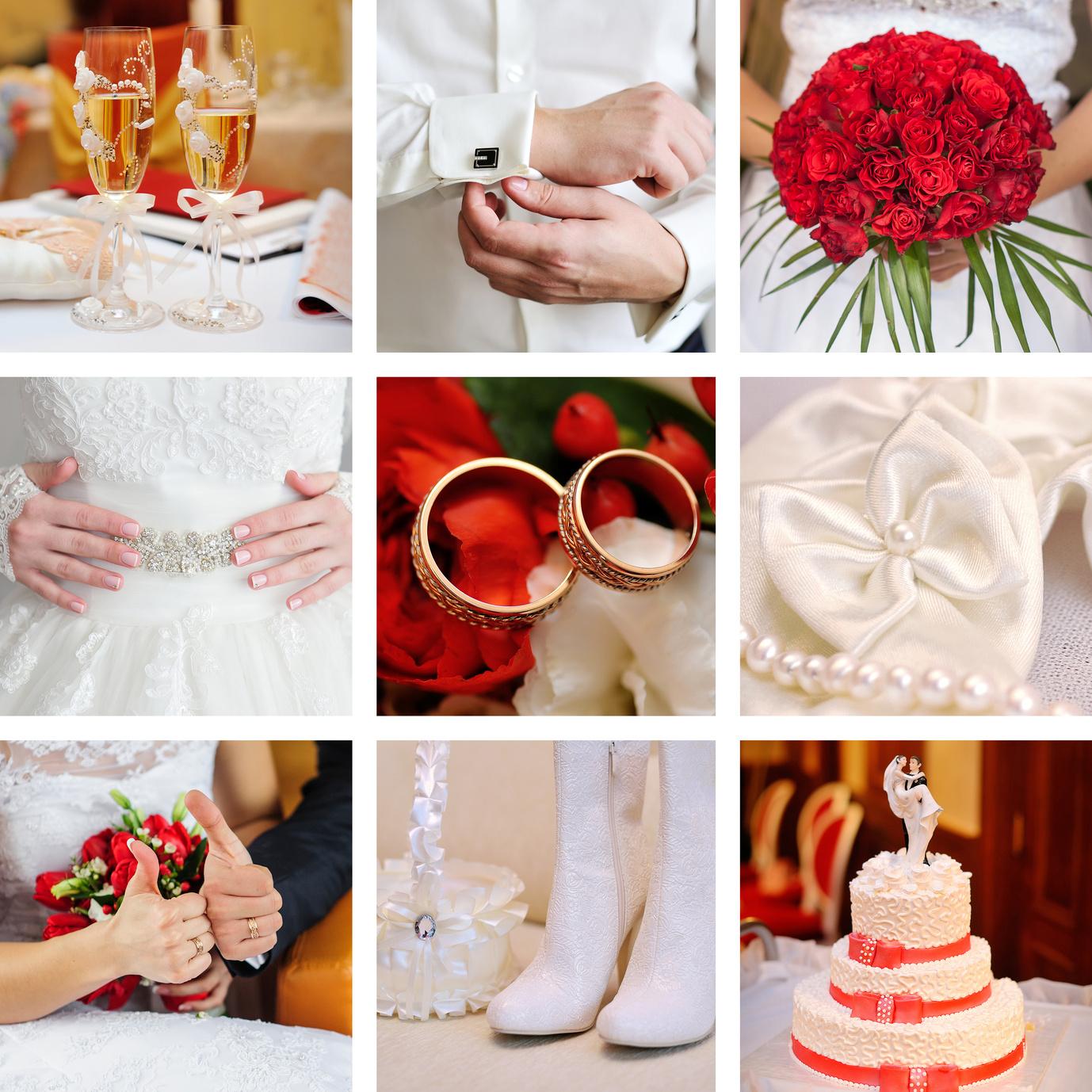 Hochzeitsmotto Rot-Orangerot-Weiß