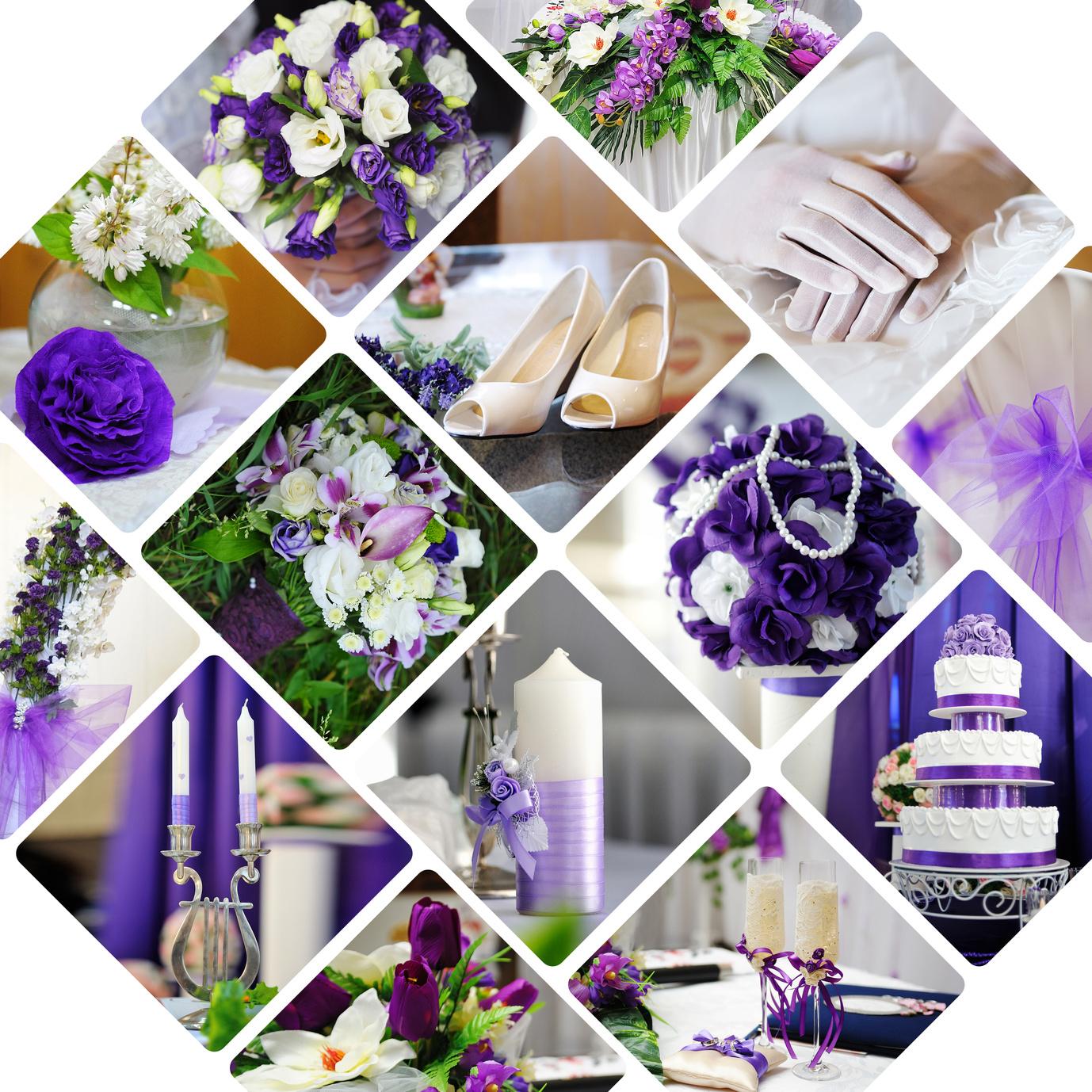 Hochzeitsmotto Blauviolett-helles Blaulila & Weiss
