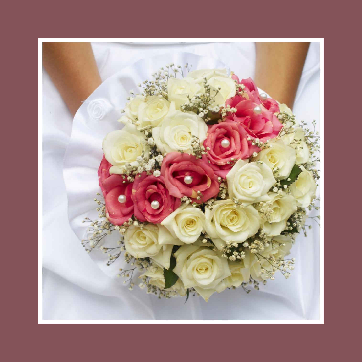 Brautstrauß mit rosé & cremefarbenen Rosen