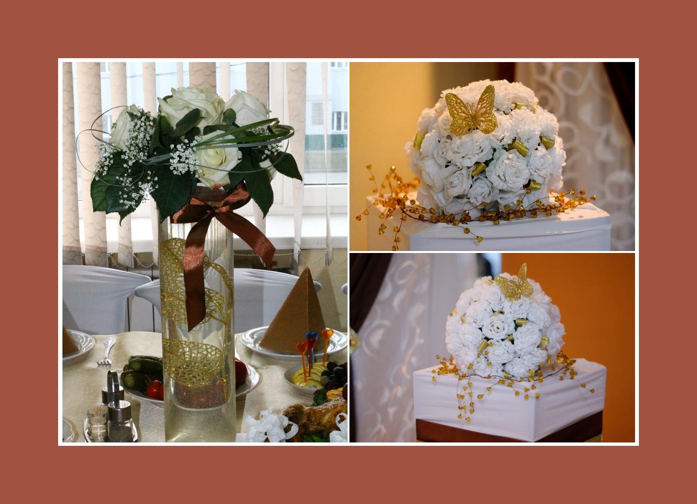 Blumengestecke aus weißen Blumen für Schokoladenhochzeit