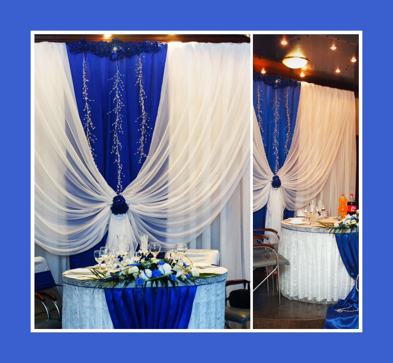 Brautpaartisch in Blautönen