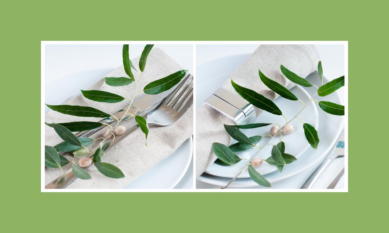 Grüne Äste und Blätter auf dem Tisch
