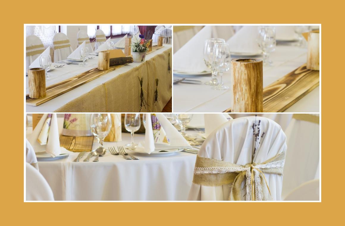 Holzelemente in der rustikalen Tischdeko