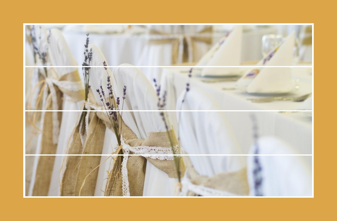 Stuhlhussen mit Leinenbändern