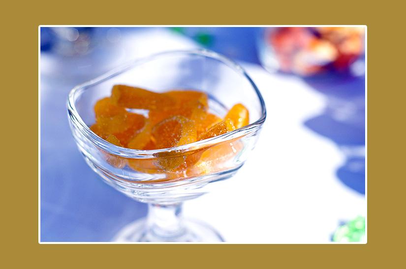 Geleescheiben Apfelsinen für gelbe Hochzeit