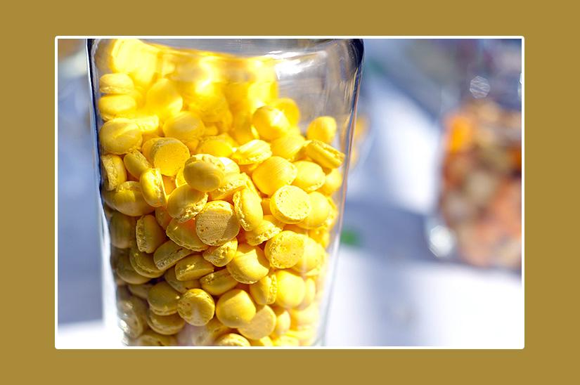 Mini-Macarons Gelb für Hochzeit