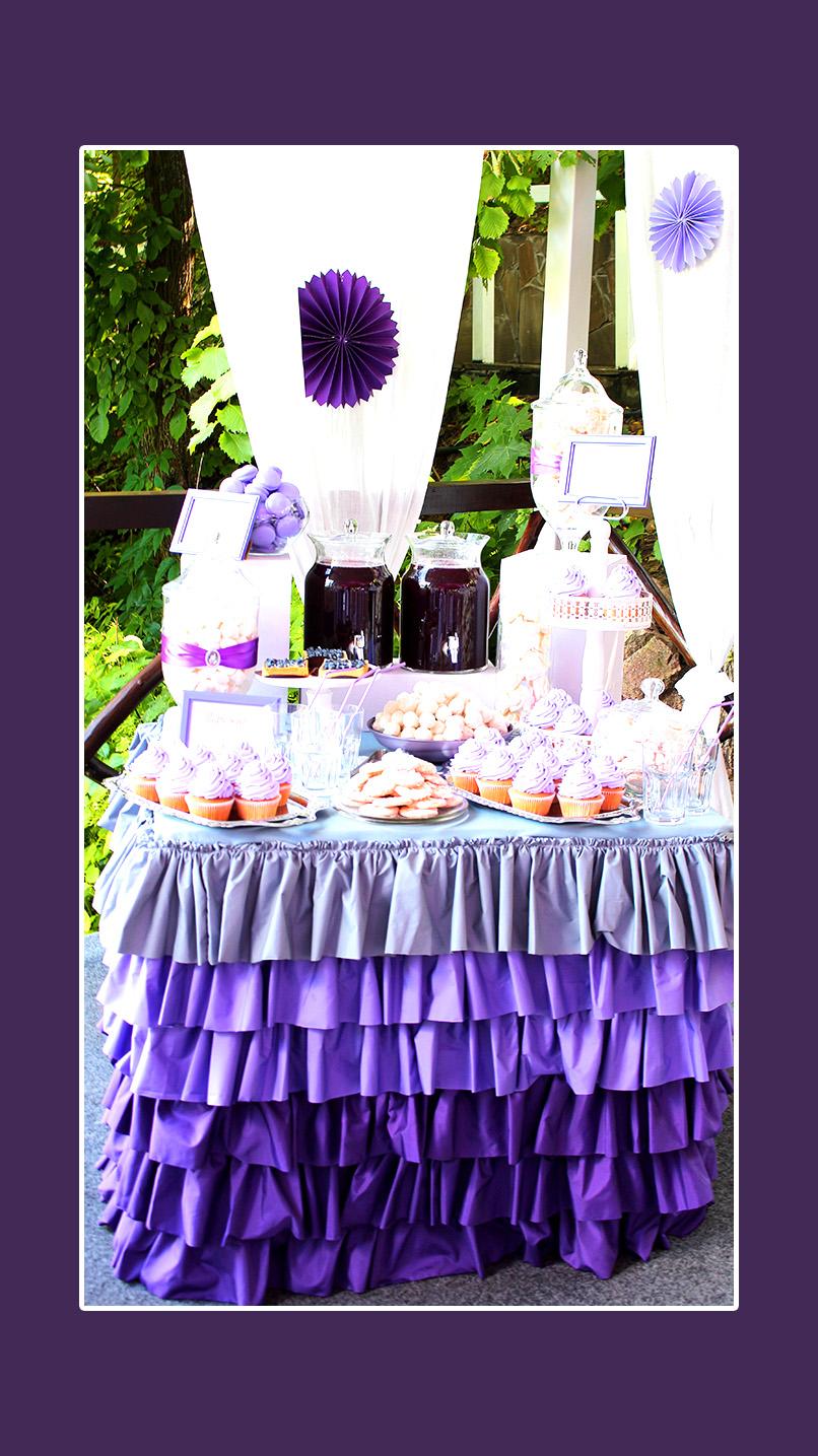 Candy Bar Hochzeit in Violett und Lila