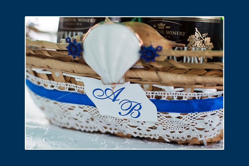 Dekoration für die Hochzeitssekt Meeresthema