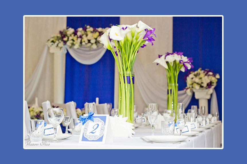 Tischnummern blau mit Spitze