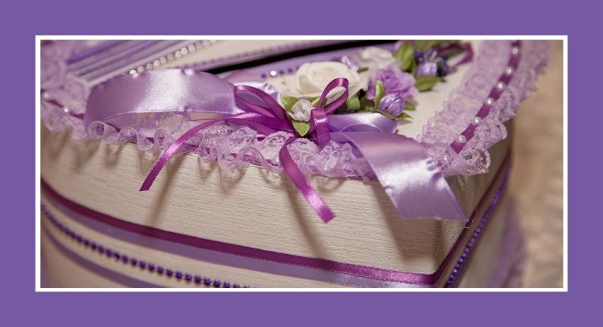 Geschenktruhe Herz Lila ukrainische Hochzeit