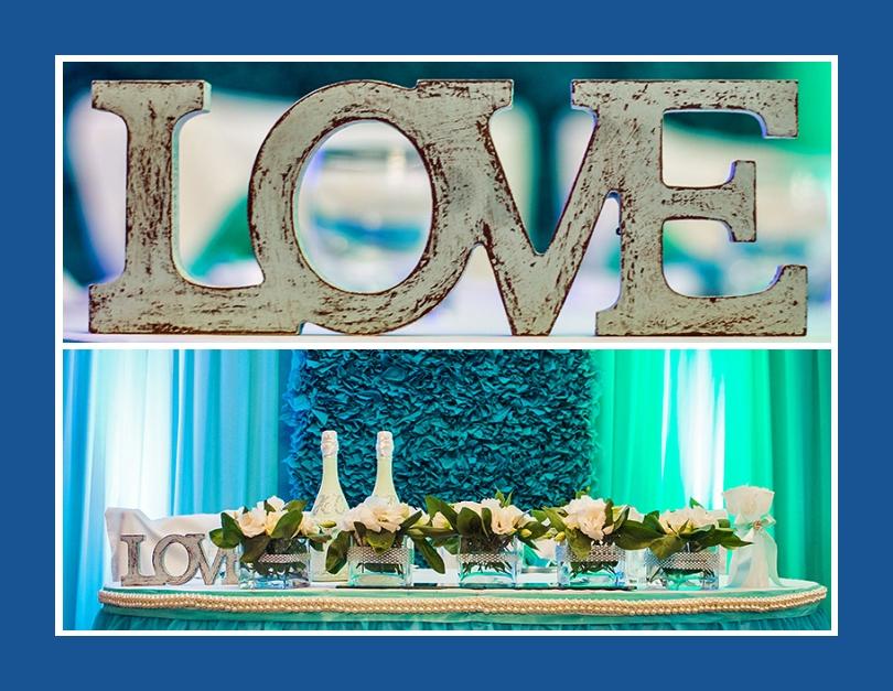 Hochzeit Mint Türkis Tischdekoration