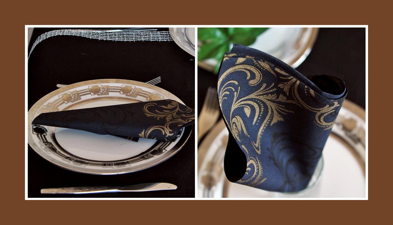 Elegante Deko Idee Goldene Hochzeit Schwarz Gold Servietten falten